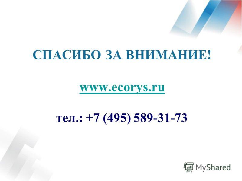 СПАСИБО ЗА ВНИМАНИЕ! www.ecorys.ru тел.: +7 (495) 589-31-73 www.ecorys.ru