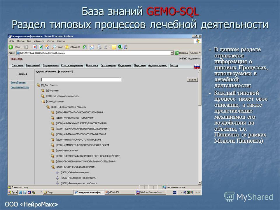 База знаний GEMO-SQL Раздел типовых процессов лечебной деятельности - В данном разделе отражается информация о типовых Процессах, используемых в лечебной деятельности; - Каждый типовой процесс имеет свое описание, а также представление механизмов его