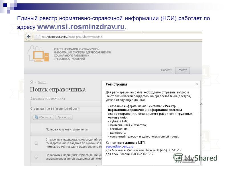 Единый реестр нормативно-справочной информации (НСИ) работает по адресу www.nsi.rosminzdrav.ru. www.nsi.rosminzdrav.ru