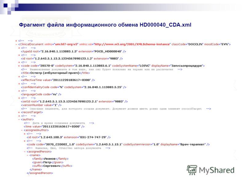 Фрагмент файла информационного обмена HD000040_CDA.xml