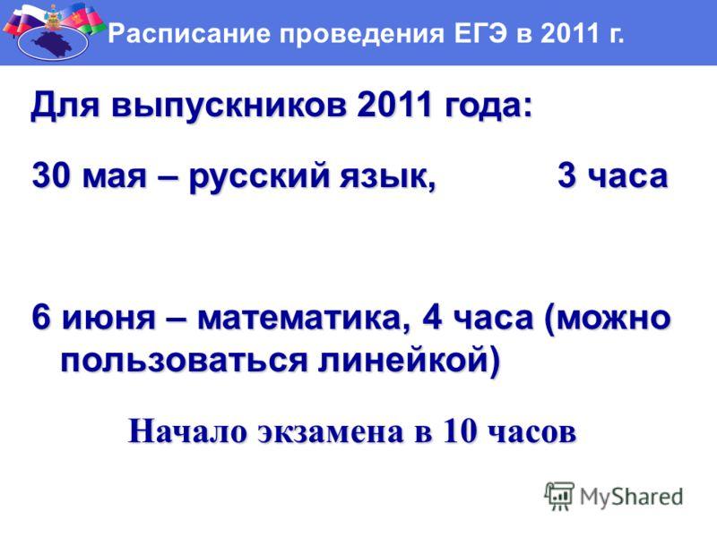 Г Расписание проведения ЕГЭ в 2011 г. Для выпускников 2011 года: 30 мая – русский язык, 3 часа 6 июня – математика, 4 часа (можно пользоваться линейкой) Начало экзамена в 10 часов