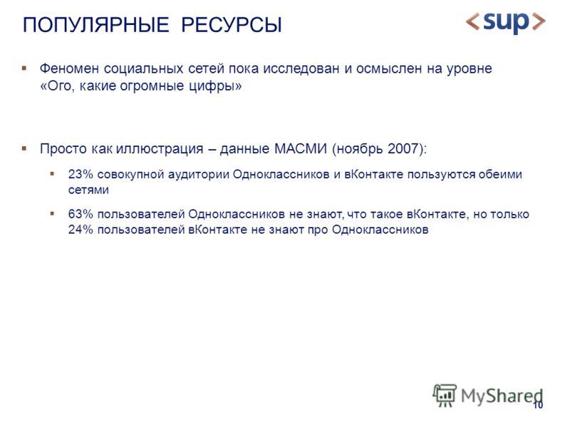10 Феномен социальных сетей пока исследован и осмыслен на уровне «Ого, какие огромные цифры» Просто как иллюстрация – данные МАСМИ (ноябрь 2007): 23% совокупной аудитории Одноклассников и вКонтакте пользуются обеими сетями 63% пользователей Однокласс