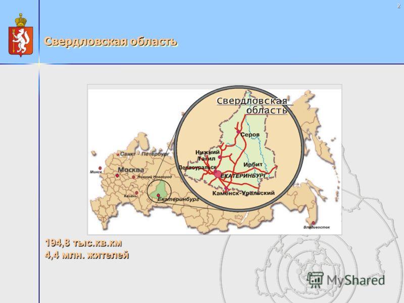 2 Свердловская область 194,8 тыс.кв.км 4,4 млн. жителей