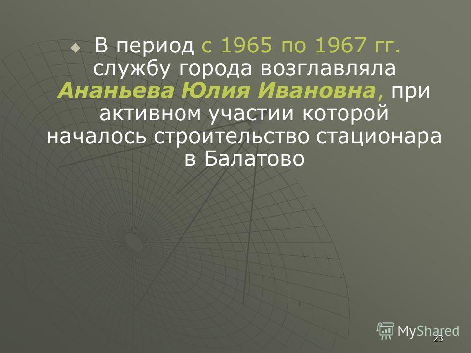 В период с 1965 по 1967 гг. службу города возглавляла Ананьева Юлия Ивановна, при активном участии которой началось строительство стационара в Балатово 23