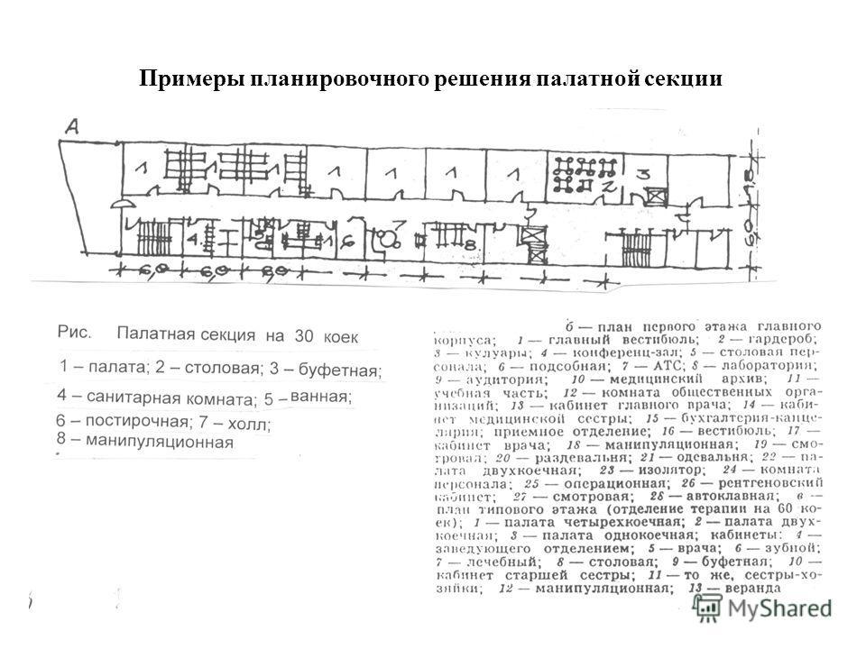 Примеры планировочного решения палатной секции