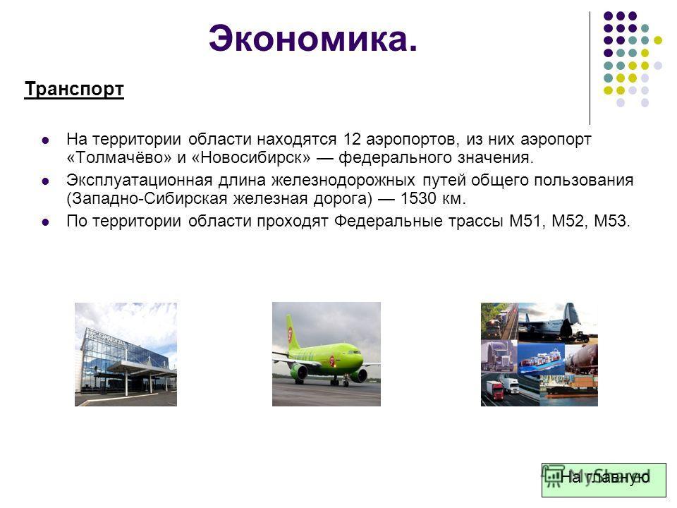 На территории области находятся 12 аэропортов, из них аэропорт «Толмачёво» и «Новосибирск» федерального значения. Эксплуатационная длина железнодорожных путей общего пользования (Западно-Сибирская железная дорога) 1530 км. По территории области прохо