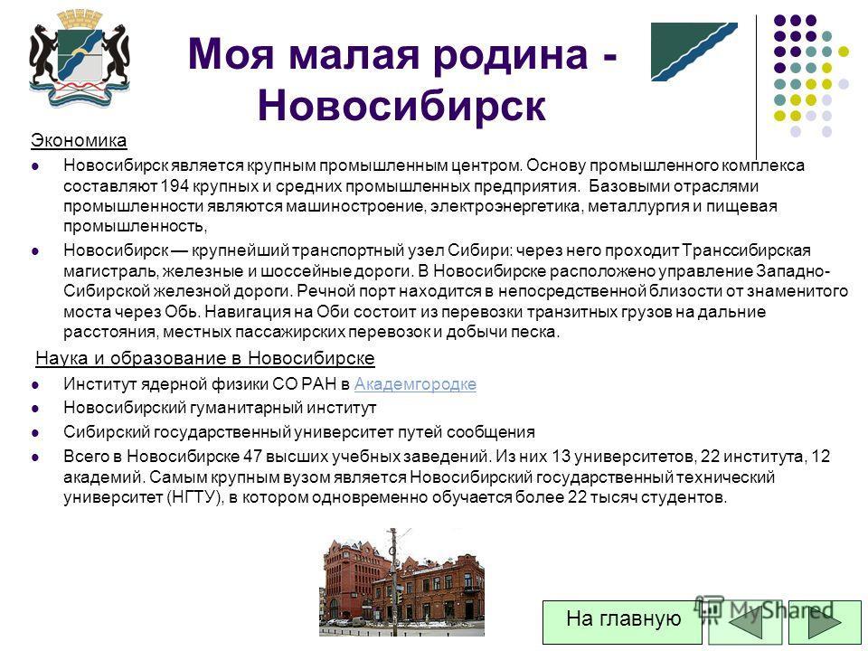 Экономика Новосибирск является крупным промышленным центром. Основу промышленного комплекса составляют 194 крупных и средних промышленных предприятия. Базовыми отраслями промышленности являются машиностроение, электроэнергетика, металлургия и пищевая