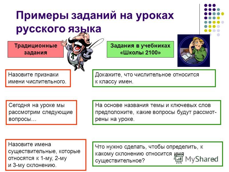 16 Примеры заданий на уроках русского языка Традиционные задания Задания в учебниках «Школы 2100» Докажите, что числительное относится к классу имен. На основе названия темы и ключевых слов предположите, какие вопросы будут рассмот- рены на уроке. Се