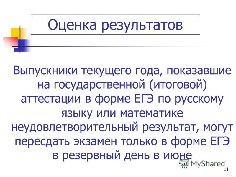11 Выпускники текущего года, показавшие на государственной (итоговой) аттестации в форме ЕГЭ по русскому языку или математике неудовлетворительный результат, могут пересдать экзамен только в форме ЕГЭ в резервный день в июне Оценка результатов