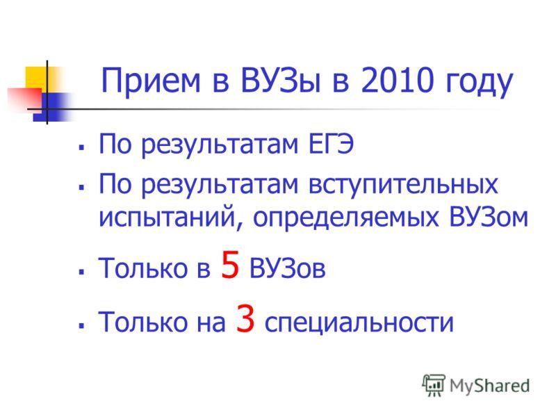 Прием в ВУЗы в 2010 году По результатам ЕГЭ По результатам вступительных испытаний, определяемых ВУЗом Только в 5 ВУЗов Только на 3 специальности