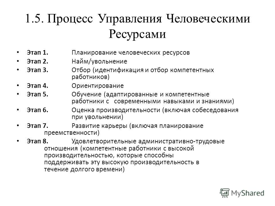 1.5. Процесс Управления Человеческими Ресурсами Этап 1. Планирование человеческих ресурсов Этап 2. Найм/увольнение Этап 3. Отбор (идентификация и отбор компетентных работников) Этап 4. Ориентирование Этап 5. Обучение (адаптированные и компетентные ра