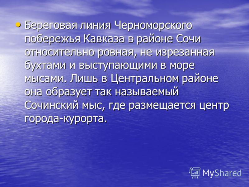 Береговая линия Черноморского побережья Кавказа в районе Сочи относительно ровная, не изрезанная бухтами и выступающими в море мысами. Лишь в Центральном районе она образует так называемый Сочинский мыс, где размещается центр города-курорта. Берегова