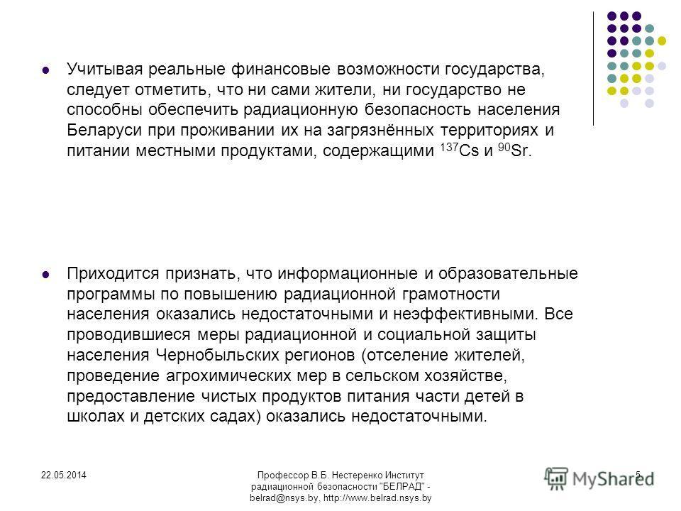22.05.2014Профессор В.Б. Нестеренко Институт радиационной безопасности