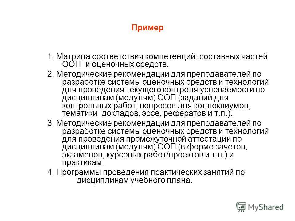 Пример 1. Матрица соответствия компетенций, составных частей ООП и оценочных средств. 2. Методические рекомендации для преподавателей по разработке системы оценочных средств и технологий для проведения текущего контроля успеваемости по дисциплинам (м