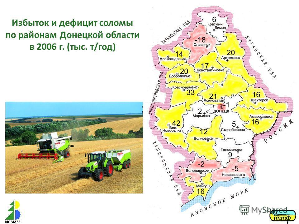 Избыток и дефицит соломы по районам Донецкой области в 2006 г. (тыс. т/год)