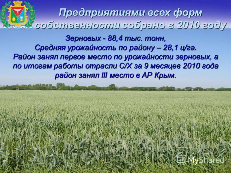 Предприятиями всех форм собственности собрано в 2010 году Зерновых - 88,4 тыс. тонн, Средняя урожайность по району – 28,1 ц/га. Район занял первое место по урожайности зерновых, а по итогам работы отрасли С/Х за 9 месяцев 2010 года район занял III ме