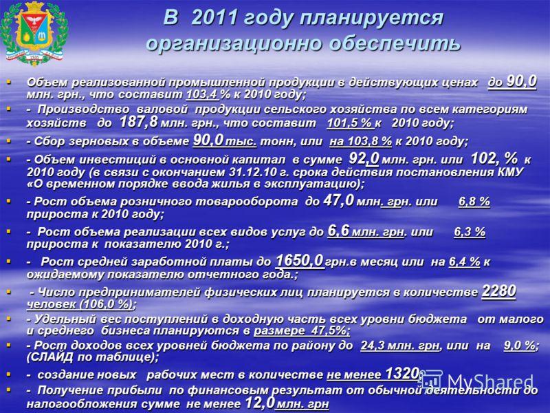 В 2011 году планируется организационно обеспечить Объем реализованной промышленной продукции в действующих ценах до 90,0 млн. грн., что составит 103,4 % к 2010 году; Объем реализованной промышленной продукции в действующих ценах до 90,0 млн. грн., чт