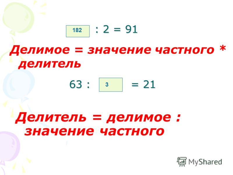 - 32 = 59 Уменьшаемое = значение разности + вычитаемое 91 74 - = 12 Вычитаемое = уменьшаемое – значение разности 62