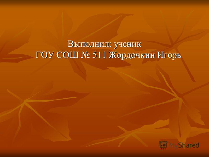 Выполнил: ученик ГОУ СОШ 511 Жордочкин Игорь
