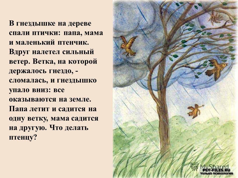 В гнездышке на дереве спали птички: папа, мама и маленький птенчик. Вдруг налетел сильный ветер. Ветка, на которой держалось гнездо, - сломалась, и гнездышко упало вниз: все оказываются на земле. Папа летит и садится на одну ветку, мама садится на др