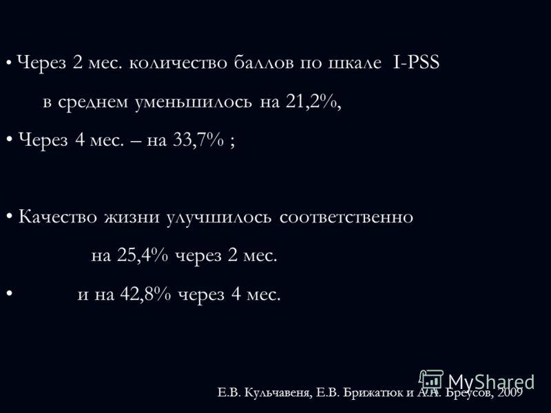 Через 2 мес. количество баллов по шкале I-PSS в среднем уменьшилось на 21,2%, Через 4 мес. – на 33,7% ; Качество жизни улучшилось соответственно на 25,4% через 2 мес. и на 42,8% через 4 мес. Е.В. Кульчавеня, Е.В. Брижатюк и А.А. Бреусов, 2009