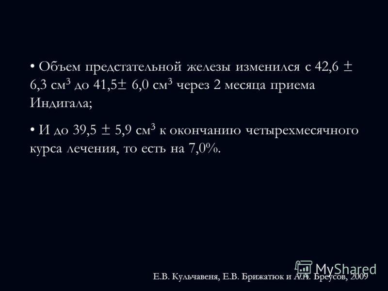 Объем предстательной железы изменился с 42,6 ± 6,3 см 3 до 41,5± 6,0 см 3 через 2 месяца приема Индигала; И до 39,5 ± 5,9 см 3 к окончанию четырехмесячного курса лечения, то есть на 7,0%. Е.В. Кульчавеня, Е.В. Брижатюк и А.А. Бреусов, 2009
