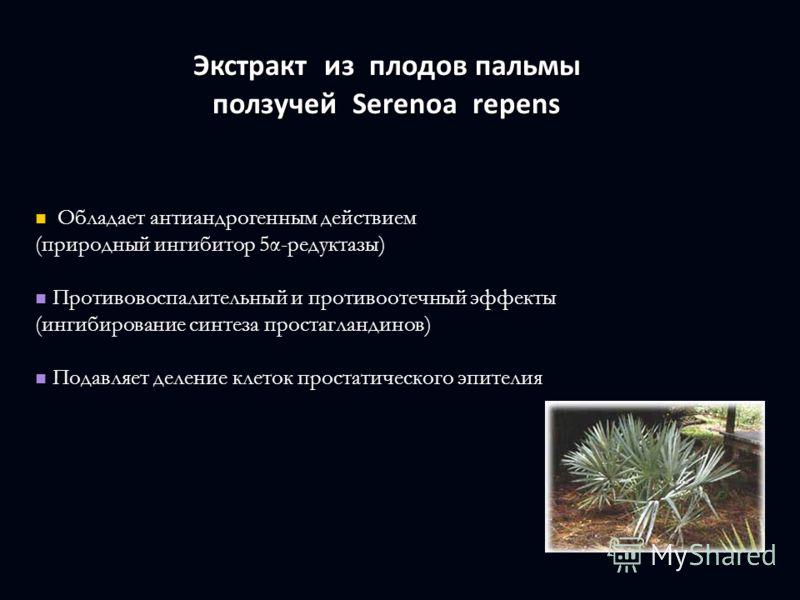 Экстракт из плодов пальмы ползучей Serenoa repens Экстракт из плодов пальмы ползучей Serenoa repens Обладает антиандрогенным действием Обладает антиандрогенным действием (природный ингибитор 5α-редуктазы) Противовоспалительный и противоотечный эффект
