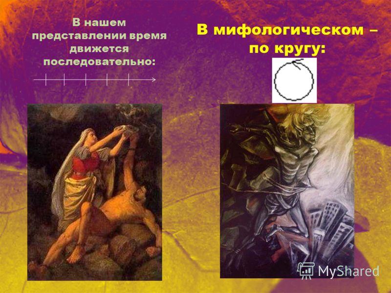 В нашем представлении время движется последовательно: В мифологическом – по кругу: