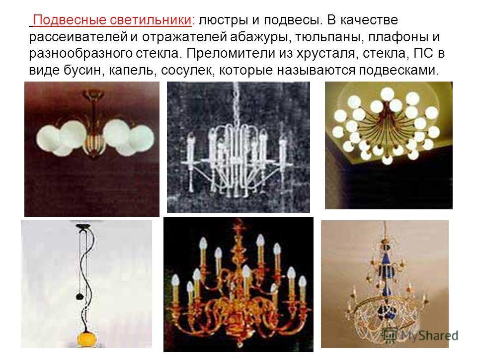 Подвесные светильники: люстры и подвесы. В качестве рассеивателей и отражателей абажуры, тюльпаны, плафоны и разнообразного стекла. Преломители из хрусталя, стекла, ПС в виде бусин, капель, сосулек, которые называются подвесками.