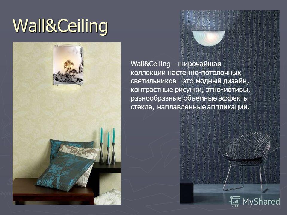 Wall&Ceiling Wall&Ceiling – широчайшая коллекции настенно-потолочных светильников - это модный дизайн, контрастные рисунки, этно-мотивы, разнообразные объемные эффекты стекла, наплавленные аппликации.
