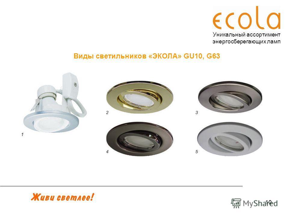 10 Уникальный ассортимент энергосберегающих ламп Виды светильников «ЭКОЛА» GU10, G63