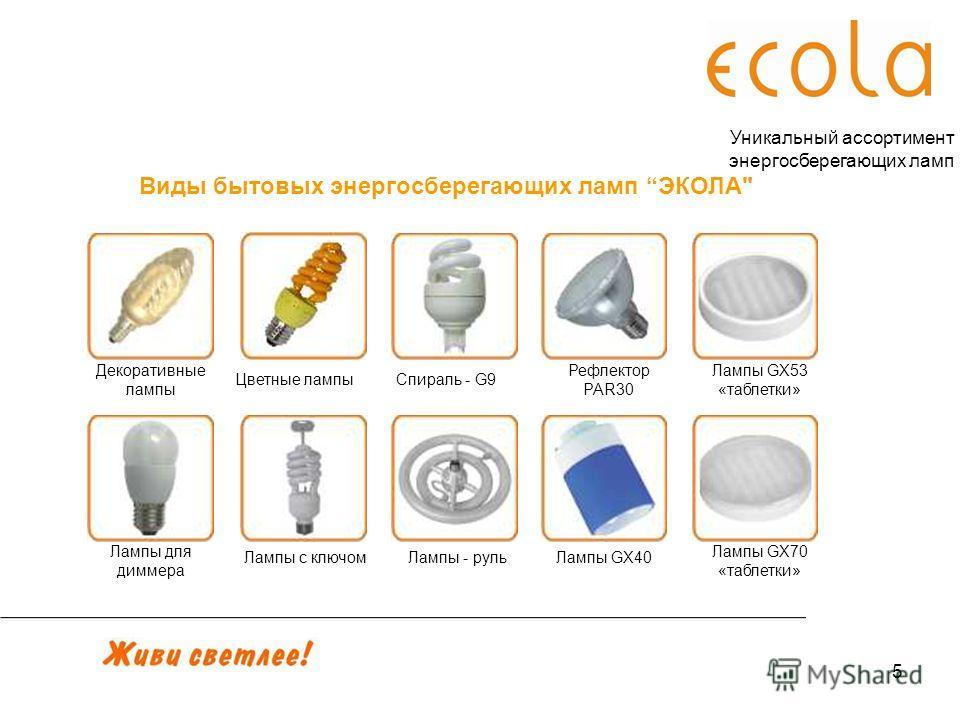5 Декоративные лампы Виды бытовых энергосберегающих ламп ЭКОЛА Уникальный ассортимент энергосберегающих ламп Лампы для диммера Лампы с ключомЛампы - рульЛампы GX40 Лампы GX53 «таблетки» Рефлектор PAR30 Спираль - G9Цветные лампы Лампы GX70 «таблетки»