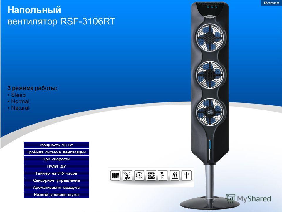 Напольный вентилятор RSF-3106RT Тройная система вентиляции Мощность 90 Вт Три скорости Пульт ДУ Таймер на 7,5 часов Сенсорное управление Ароматизация воздуха Низкий уровень шума 3 режима работы: Sleep Normal Natural