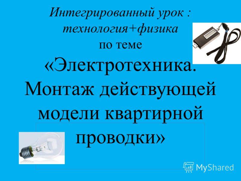 Интегрированный урок : технология+физика по теме «Электротехника. Монтаж действующей модели квартирной проводки»