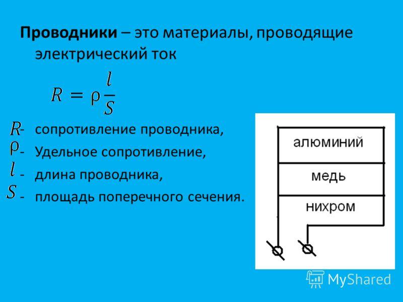 Проводники – это материалы, проводящие электрический ток -сопротивление проводника, -Удельное сопротивление, -длина проводника, -площадь поперечного сечения.