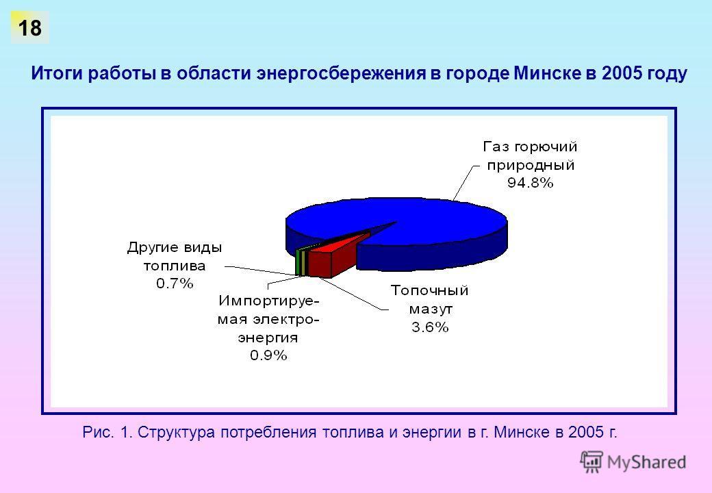 Итоги работы в области энергосбережения в городе Минске в 2005 году Рис. 1. Структура потребления топлива и энергии в г. Минске в 2005 г. 18