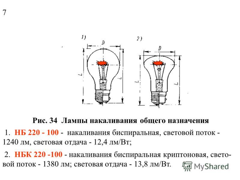 Рис. 33 Некоторые типы ламп (масштабы разные) а - криптоновая; б - зеркальная; в - галогенная; г - ДРЛ; д - ДНаТ; 1 - отражающий слой; 2 - нить накала; 3 - кварцевая колба; 4 - ртут- ная кварцевая лампа; 5 - внешняя стеклянная колба; 6 - люминофор; 7