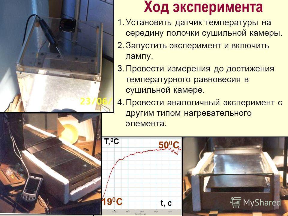 Ход эксперимента 1.Установить датчик температуры на середину полочки сушильной камеры. 2.Запустить эксперимент и включить лампу. 3.Провести измерения до достижения температурного равновесия в сушильной камере. 4.Провести аналогичный эксперимент с дру