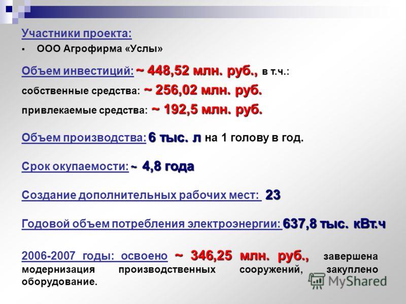 Участники проекта: ООО Агрофирма «Услы» ~ 448,52 млн. руб., Объем инвестиций: ~ 448,52 млн. руб., в т.ч.: ~ 256,02 млн. руб. собственные средства: ~ 256,02 млн. руб. ~ 192,5 млн. руб. привлекаемые средства: ~ 192,5 млн. руб. 6 тыс. л Объем производст