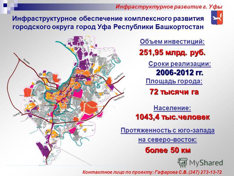 Инфраструктурное обеспечение комплексного развития городского округа город Уфа Республики Башкортостан Объем инвестиций: 251,95 млрд. руб. Площадь города: 72 тысячи га Население: 1043,4 тыс.человек Протяженность с юго-запада на северо-восток: более50