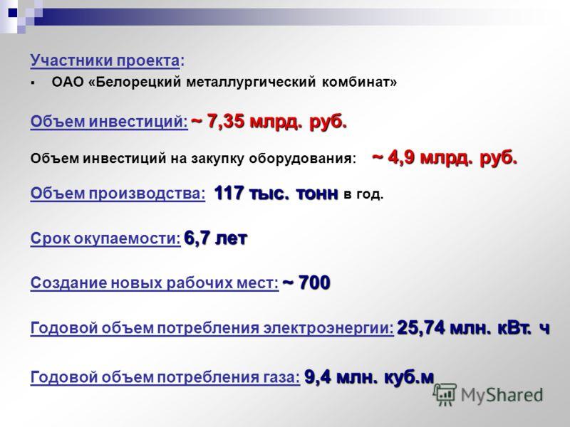 Участники проекта: ОАО «Белорецкий металлургический комбинат» ~ 7,35 млрд. руб. Объем инвестиций: ~ 7,35 млрд. руб. 117 тыс. тонн Объем производства: 117 тыс. тонн в год. 6,7 лет Срок окупаемости: 6,7 лет ~ 700 Создание новых рабочих мест: ~ 700 25,7