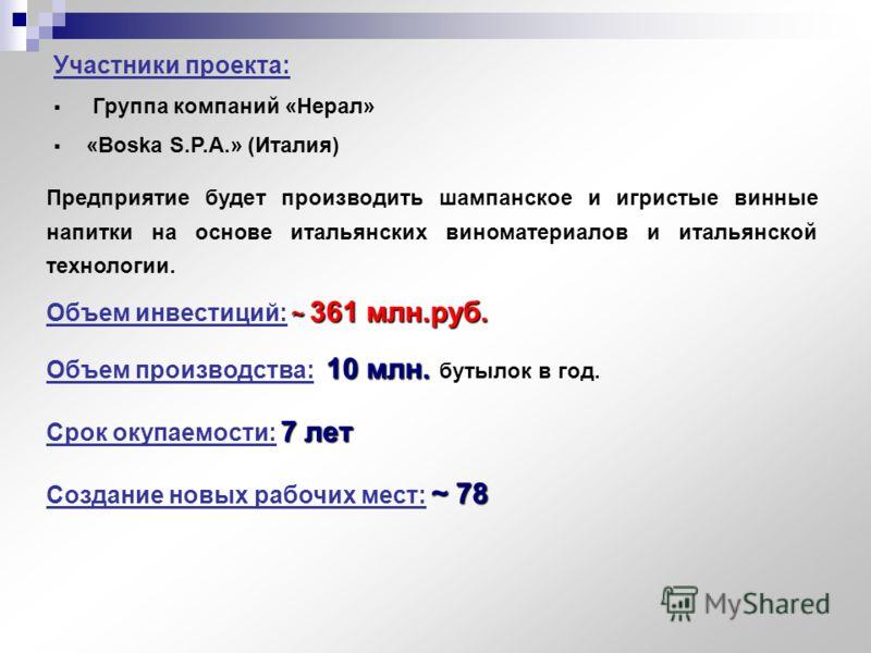 Участники проекта: Группа компаний «Нерал» «Boska S.P.A.» (Италия) ~ 361 млн.руб. Объем инвестиций: ~ 361 млн.руб. ~ 78 Создание новых рабочих мест: ~ 78 10 млн. Объем производства: 10 млн. бутылок в год. 7 лет Срок окупаемости: 7 лет Предприятие буд