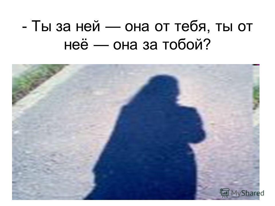 - Ты за ней она от тебя, ты от неё она за тобой?
