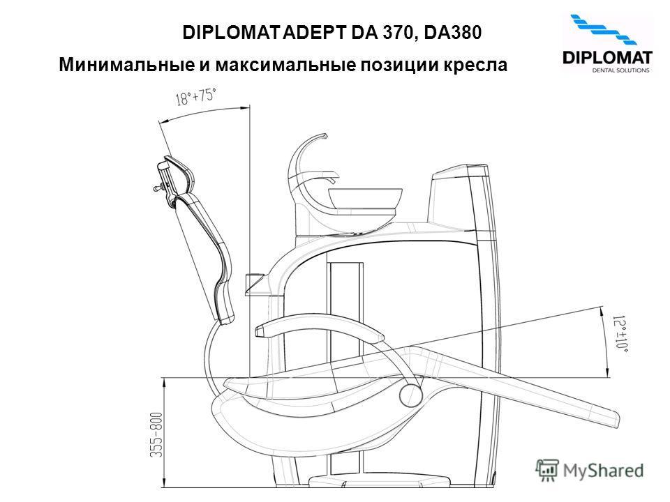 Минимальные и максимальные позиции кресла DIPLOMAT ADEPT DA 370, DA380