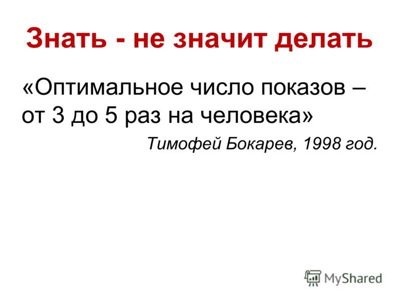 Знать - не значит делать «Оптимальное число показов – от 3 до 5 раз на человека» Тимофей Бокарев, 1998 год.