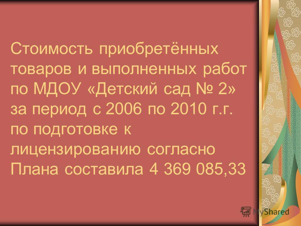Стоимость приобретённых товаров и выполненных работ по МДОУ «Детский сад 2» за период с 2006 по 2010 г.г. по подготовке к лицензированию согласно Плана составила 4 369 085,33