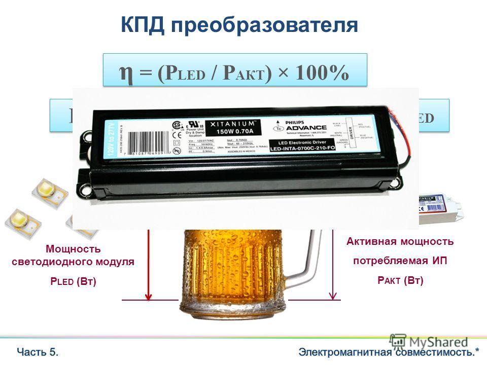 Мощность светодиодного модуля P LED (Вт) Активная мощность потребляемая ИП P АКТ (Вт) η = (P LED / P АКТ ) × 100% КПД преобразователя КПД не путать с PF!!! Потери преобразователя = P АКТ P LED