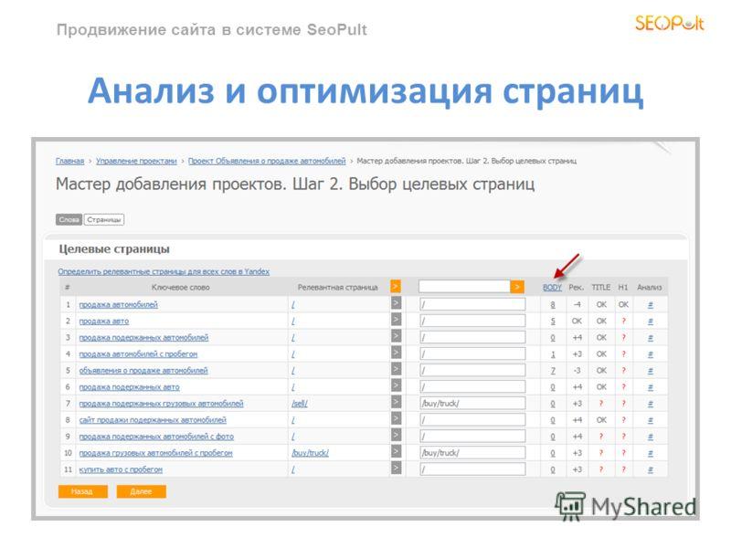 Продвижение сайта в системе SeoPult Анализ и оптимизация страниц