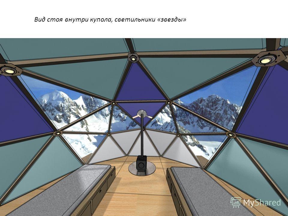 Вид стоя внутри купола, светильники «звезды»