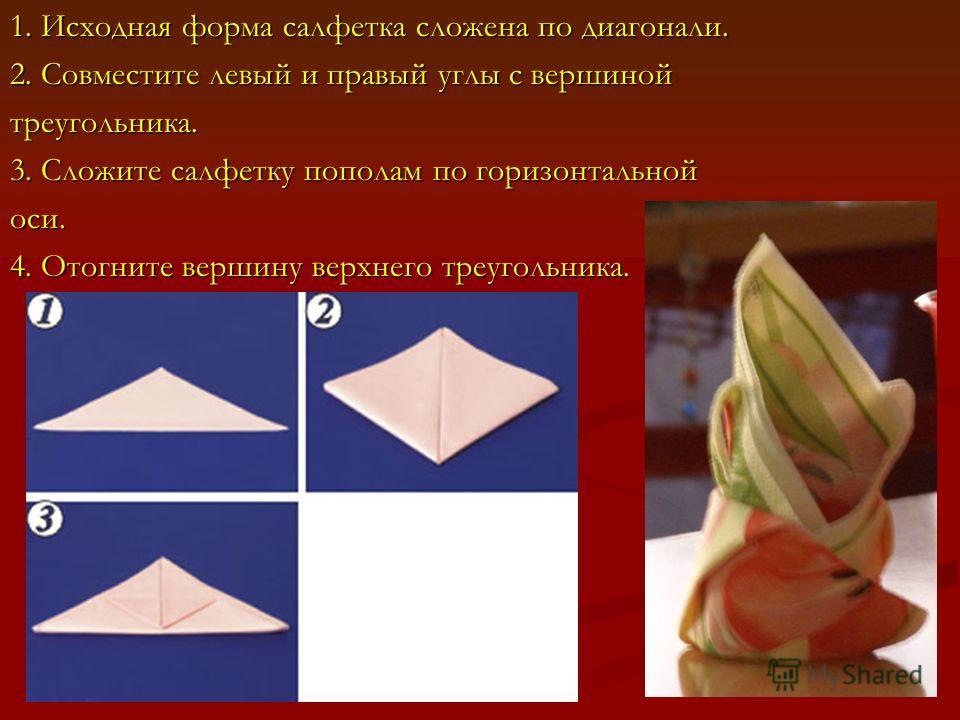 1. Исходная форма салфетка сложена по диагонали. 2. Совместите левый и правый углы с вершиной треугольника. 3. Сложите салфетку пополам по горизонтальной оси. 4. Отогните вершину верхнего треугольника.